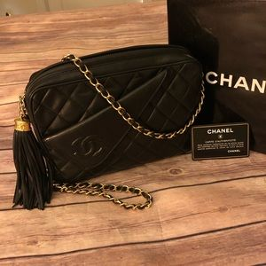 Chanel quilted fringe lambskin shoulder bag